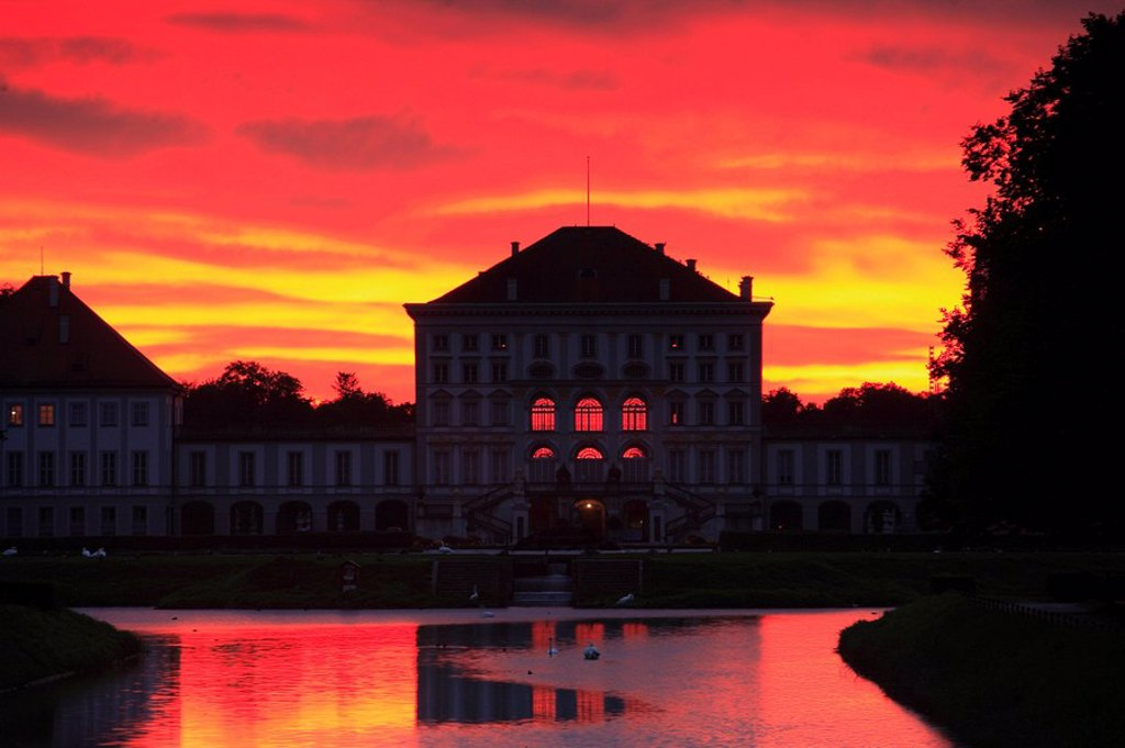 Germany, Bavaria, Munich, palace nymph-castle Nymphenburger canal evening-mood, : Stock Photo