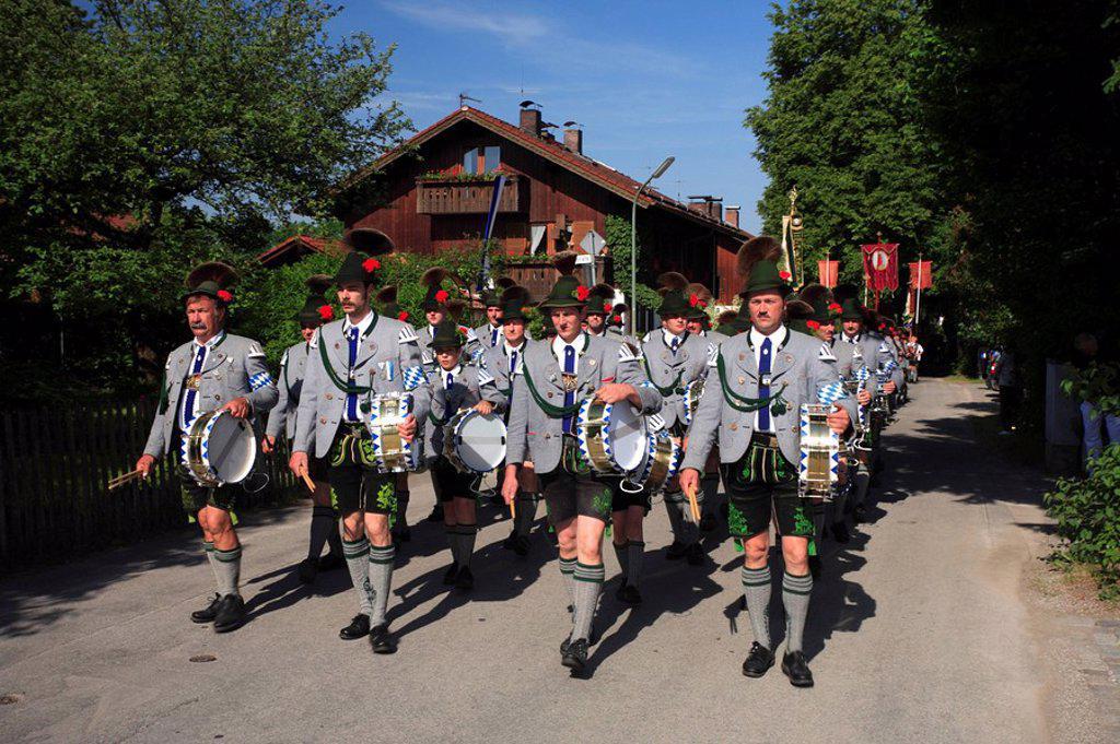 Germany, Bavaria, Benediktbeuern, Feast of Corpus Christi-procession, band, : Stock Photo