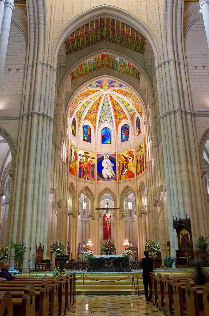 Spain, Madrid, cathedral Nuestra Senora de alpudena, interior view,. Spain, Madrid, cathedral Nuestra Senora de Almudena, interior view, : Stock Photo