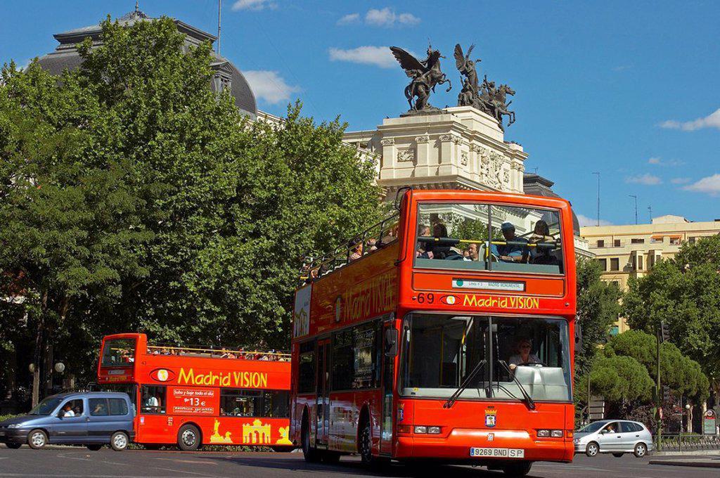 Spain, Madrid, Atocha, Plaza de Emperador Carlos V , buses, city-round-trip, tourism, : Stock Photo