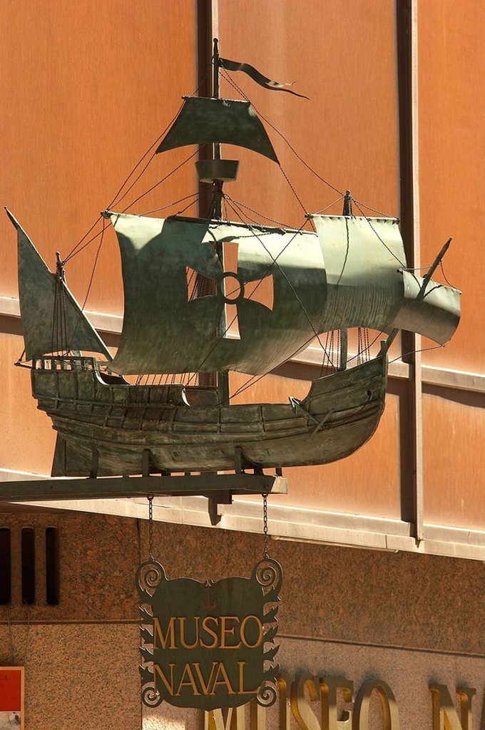 Stock Photo: 1558-139172 Spain, Madrid, navy-museum, Museo Naval, entrance, ship-model,