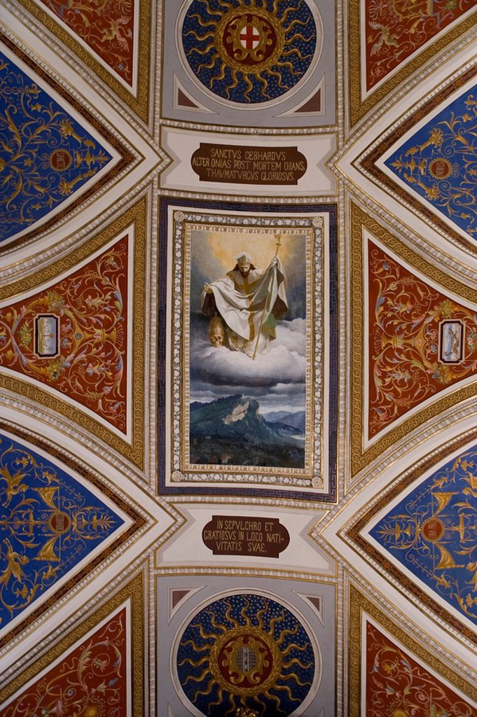 Austria, Vorarlberg, Bregenz, Gebhardsberg, pilgrimage-church St  Gebhard, ceiling fresco. Austria, Vorarlberg, Bregenz, Gebhardsberg, pilgrimage-church St  Gebhard, blanket-painting : Stock Photo