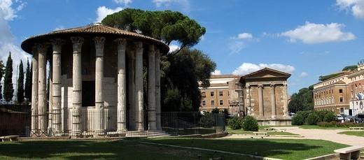 Italy, Rome, forum Boarium, temples of the victorious Hercules, temples of the Portunus, : Stock Photo