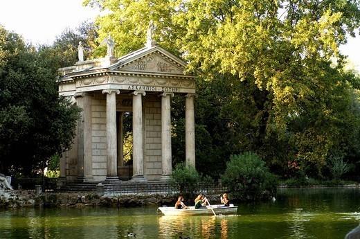 Italy, Rome, villa Borghese, park, lake,rowboat, Asclepius_temple, 1786, : Stock Photo