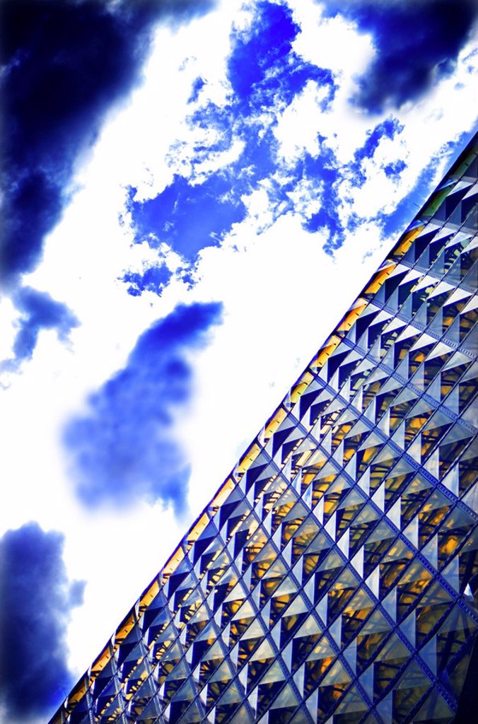 Glass_roof_construction, detail, from below, clouded sky, roof_construction, roof, glass_roof, architecture, construction, construction_manner, heaven, clouds, back light, symbol, pattern,structure, conformity, perspectives, : Stock Photo
