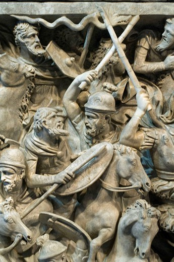 Italy, Rome, sarcophagus of Portonaccio, Palazzo Massimo, close_up, detail, : Stock Photo