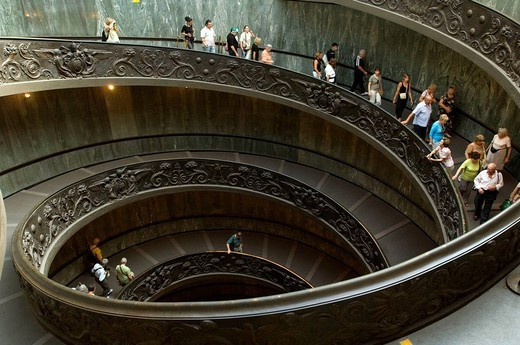 Italy, Rome, Vatican, Vatican museum, stairway_ascent, visitors, : Stock Photo