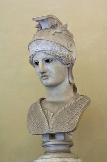 Italy, Rome, Vatican, Vatican museum, Museo Chiaramonti, bust, Athene, : Stock Photo