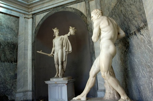 Stock Photo: 1558-147592 Italy, Rome, Vatican, Vatican museum, Museo Pio Clementino, statues, Perseus,