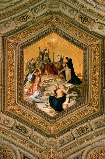 Italy, Rome, Vatican, Vatican museum, gallery of the candelabra ceiling painting, : Stock Photo
