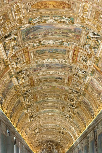 Italy, Rome, Vatican, Vatican museum, gallery of the maps, ceiling painting, : Stock Photo
