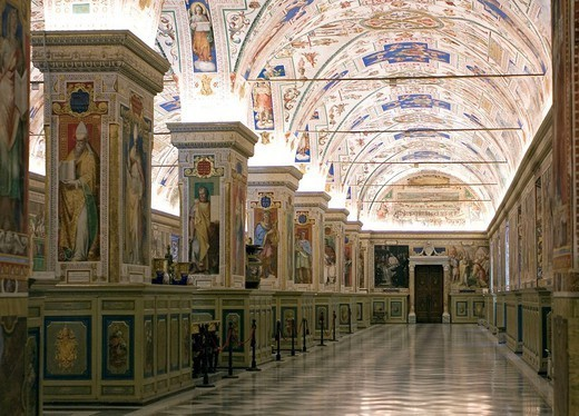 Italy, Rome, Vatican, library, indoors, parlor Sistino, : Stock Photo