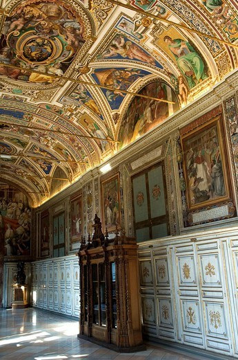 Italy, Rome, Vatican, library, interior, : Stock Photo