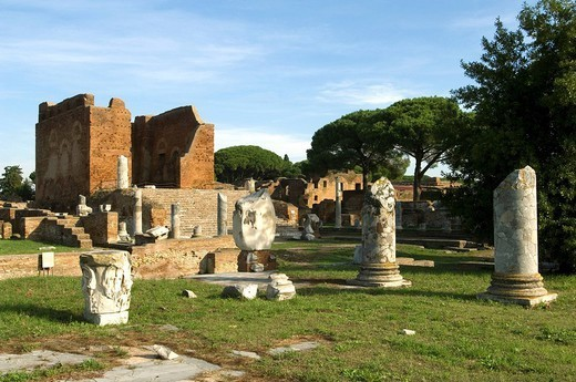Italy, Latium, Ostia Antica, forum, Capitol, : Stock Photo