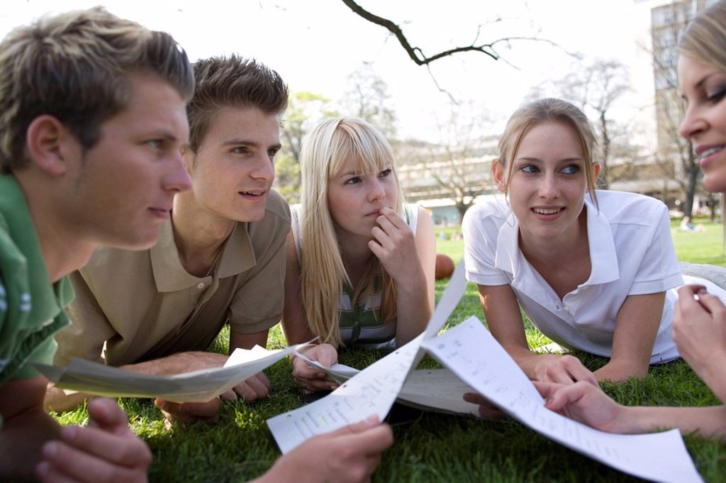 Stock Photo: 1558-148170 students, meadow, school_records, lie discusses, series, people, teenagers, students, friends, schoolmates, school_colleagues, friends, hip, clique, park, records, learning, together, concentration, conversation, teamwork, teamwork, leisure time, symbol,