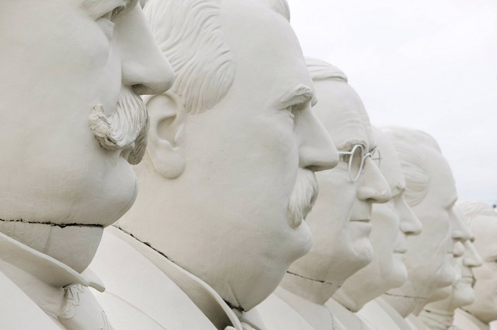 usa, Texas, Houston, U.S._presidents, sculptures, heads, close_up : Stock Photo