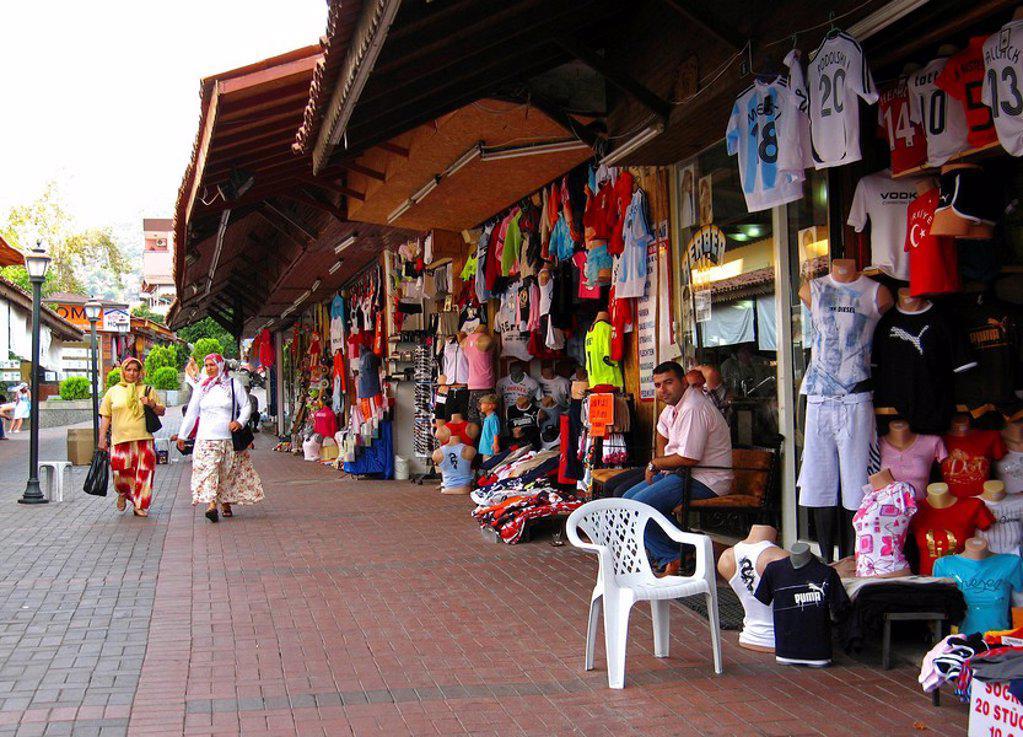 Turkey, Alanya, bazaar, souvenir_sale, merchants, passers_by, businesses, stores, sale, souvenirs, clothing, garments, offer, selection, variety, economy, retails, destination, tourism, : Stock Photo