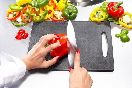 woman, detail, hands, knives, paprika, cuts, people, woman_hands, fingernails, varnishes, vegetables, pepper, concept, cut cooking open, preparation preparation nutrition healthy newly, edge_board, kitchen_knives, kr_bi, : Stock Photo