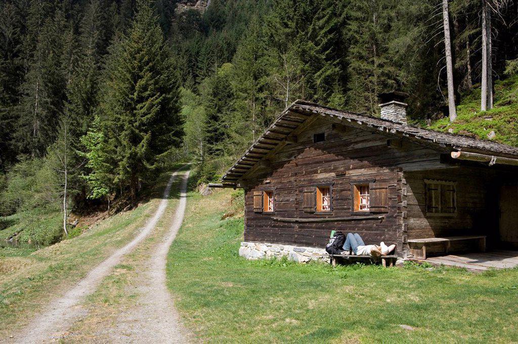 Austria, Vorarlberg, Montafon, silver_valley, cottage, woman, rest, : Stock Photo