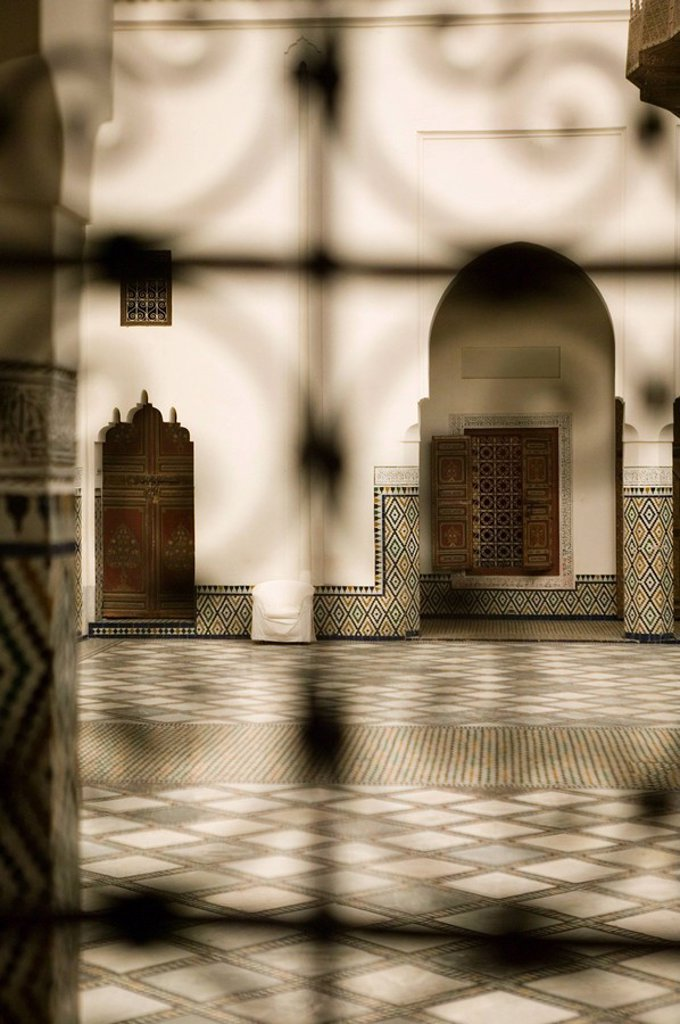 Morocco, Marrakech, Musee de Marrakech, interior, detail, blur, Africa, North_Africa, destination, sight, culture, museum, exhibition, faience_tiles, mosaics, pattern,deserted, : Stock Photo