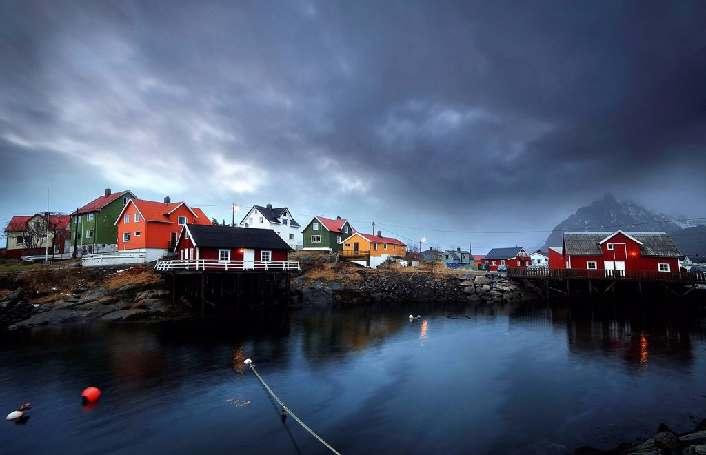 Stock Photo: 1558-15227228 The beautiful fisherman Village of Henningsvær, with the Robur houses, Lofoten Islands in Norway,