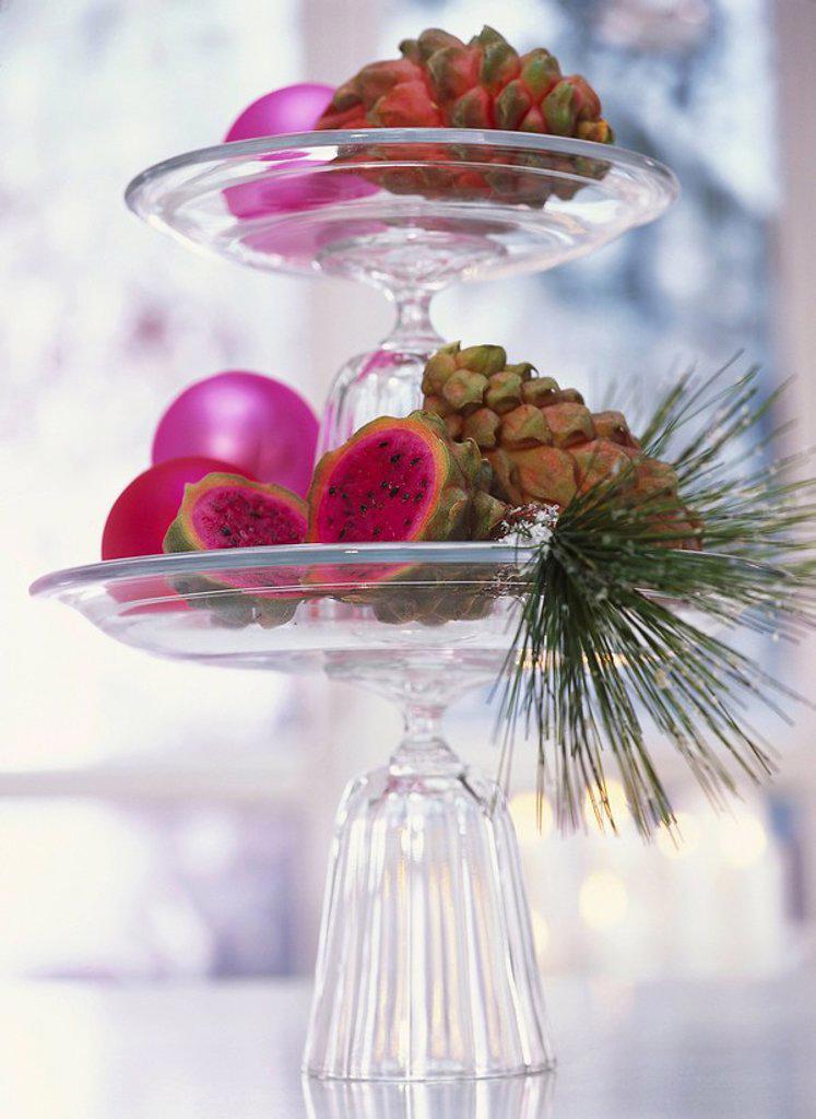 Christmas, whatnot, decoration, Christian tree balls, pink, dragon fruits, pine branch, : Stock Photo