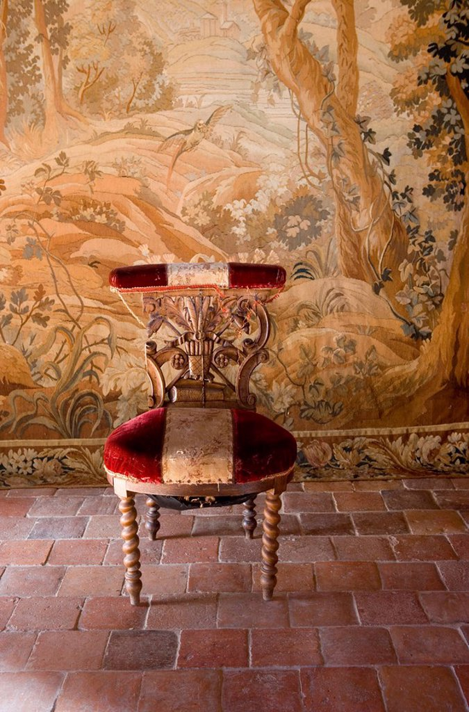 Stock Photo: 1558-154846 France, Bourgogne, Dijon, St._Seine_sur_Vingeanne, castle, Gobelin, padded chair, old,