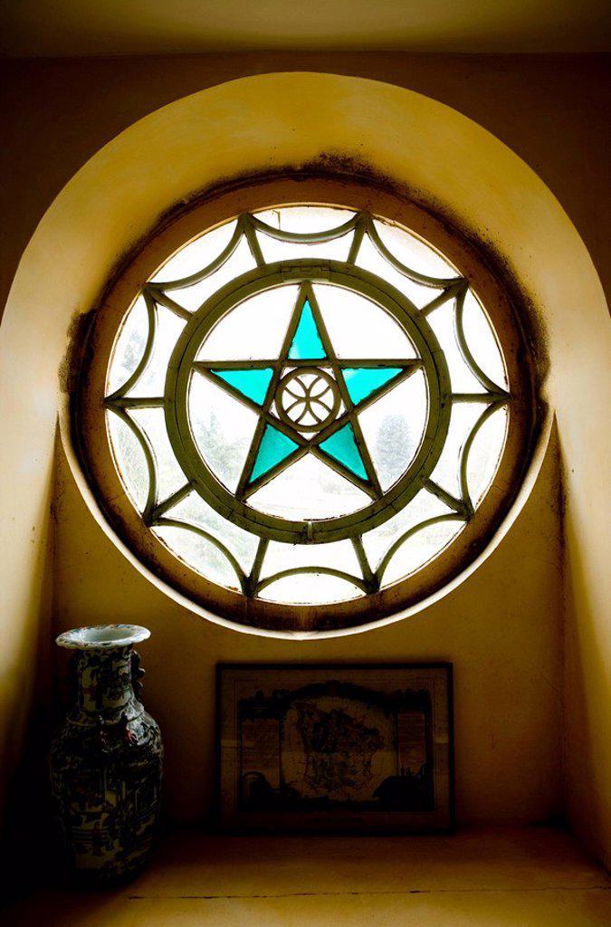 France, Bourgogne, Niévre, Nevers, castle, round window, Pentagramm, pentacle, : Stock Photo