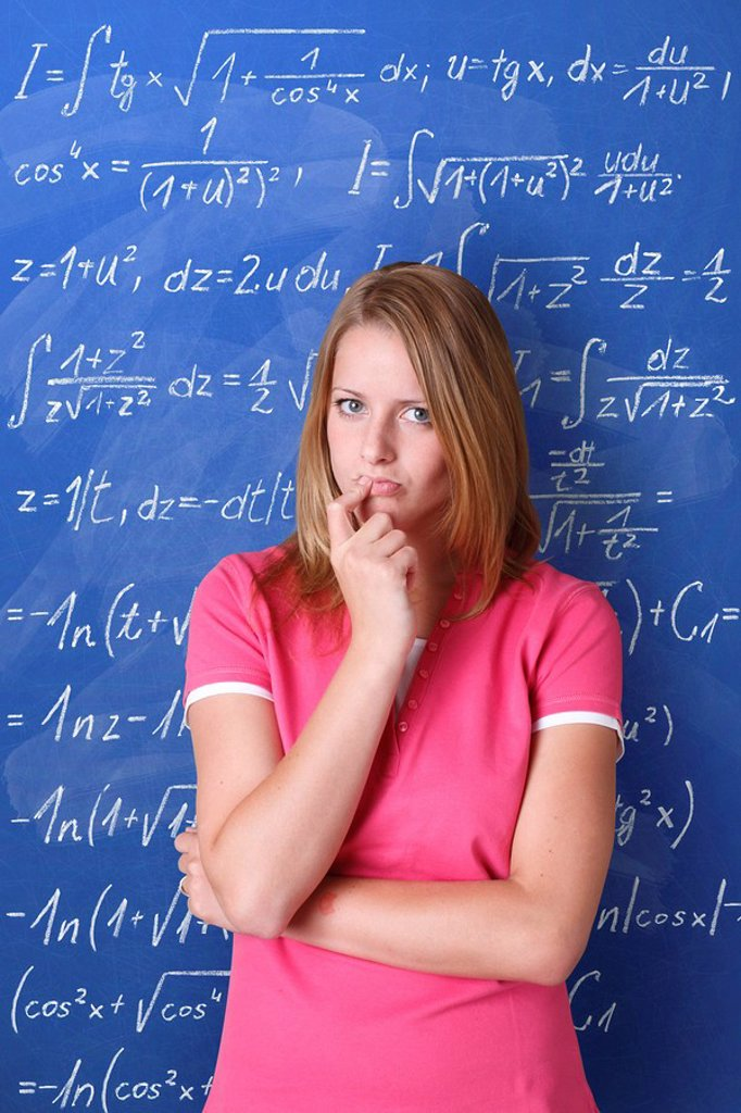 Mathematics, student, thoughtful, school blackboard, task, half portrait, : Stock Photo