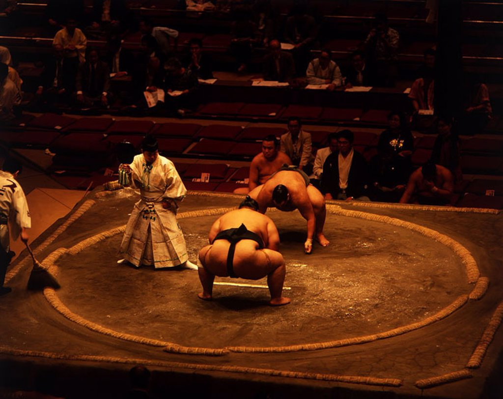 Stock Photo: 1558-50391 Japan, Sumoringer,   Sumo, wrestlers, men, two, fight, tradition, Japanese, ring fight match loincloth strength power, strength, Sumoringen, overweight,