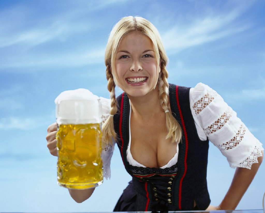 Woman, Service, happy : Stock Photo