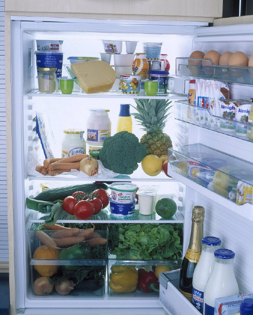 Refrigerator, open, fully, food, household appliance, electrically, storage, foods, food, meals, storage, reserve, supplies, stores, milk, milk products, vegetables, tropical fruits, food, abundance, consumption,product shot, still life : Stock Photo
