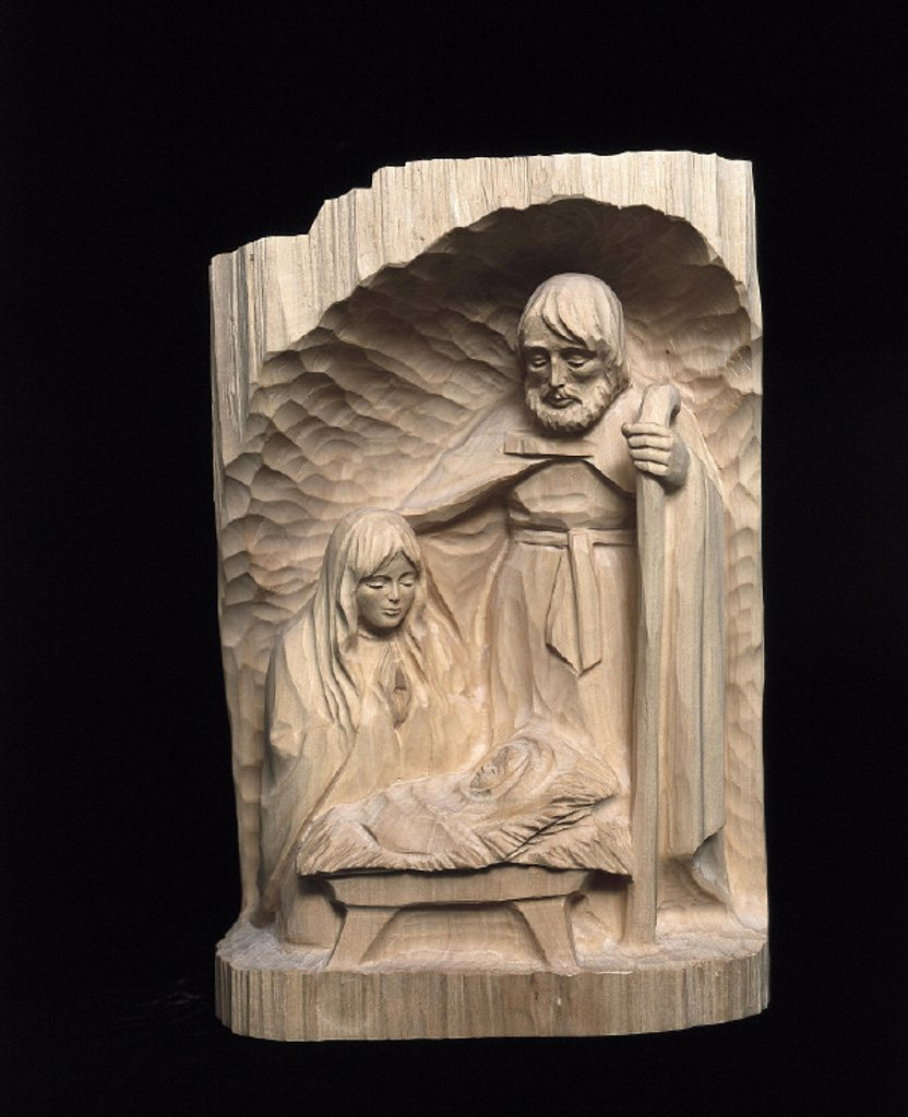 Stock Photo: 1558-52794 Erzgebirge, wood relief, manger figures, Holy family, Christmas, relief, relief picture, Christmas manger, manger, custom hood, religion, Jesus child, wood, wood picture, craft, handicraft, carving,product shot, still life