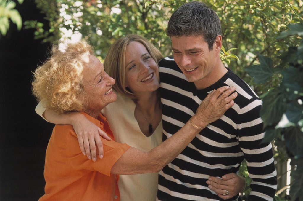 Stock Photo: 1558-52813 Mother, daughter, son, grown-up, joy, half portrait, outside, summer, women, two, man, children, arises, mood, pleases cheerfully, happiness, love, affection, together, together, touch, lovingly, reunion joy harmony happily, harmonic, joy-beaming, lucky