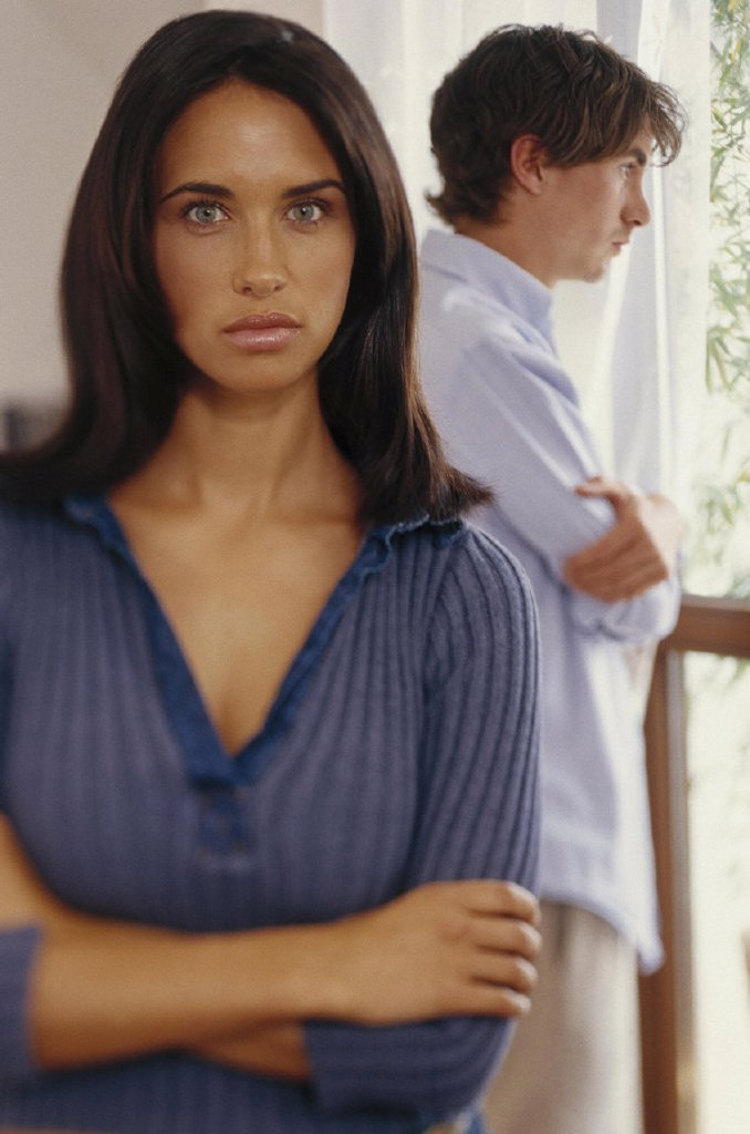 couple, dispute, disinterest, marriage dispute, averts, argues, unhappy, disharmony, dispute, disagreement, mood, negatively, aversion, uninterested, disinterest, unsatisfied, unhappy, thoughtfully, sorrow, tension, backs turns off, conflict, man 26 year : Stock Photo