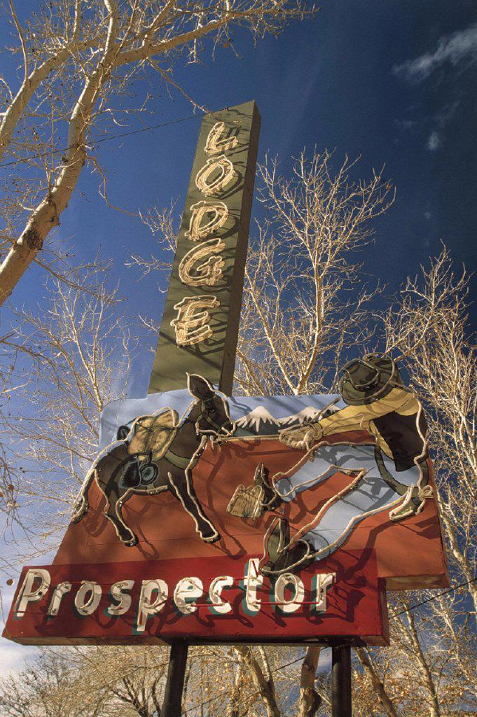 USA, Utah, Moab, neon sign, : Stock Photo