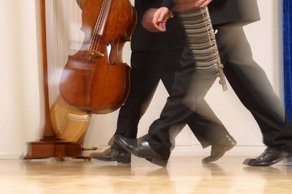 Hall, men, music instruments : Stock Photo