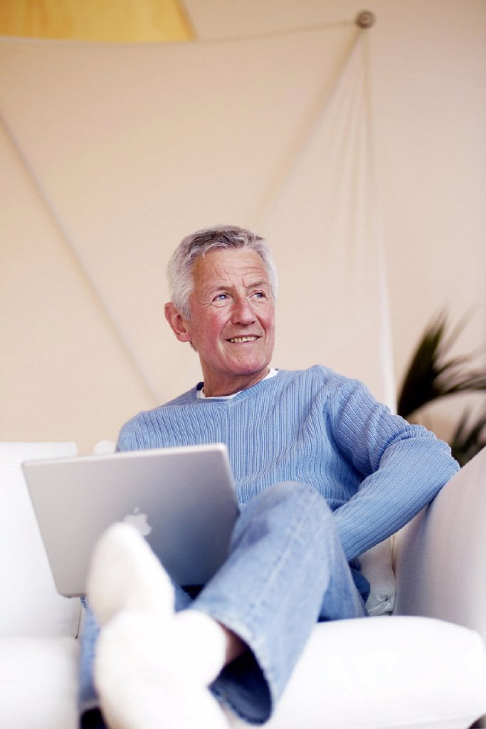 Sofa, senior, laptop : Stock Photo
