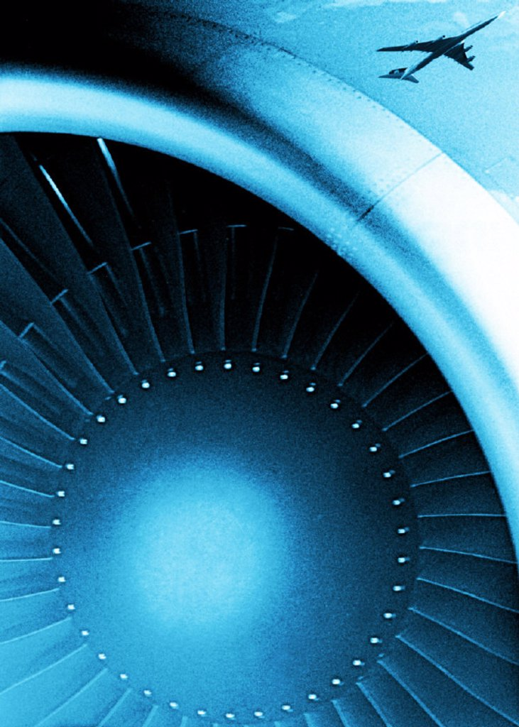 Airplane turbine, detail, airplane : Stock Photo