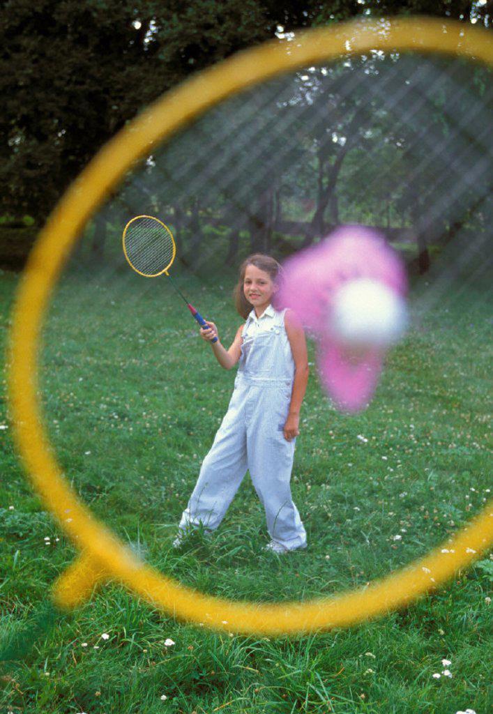 Garden, children, badminton, gaze : Stock Photo