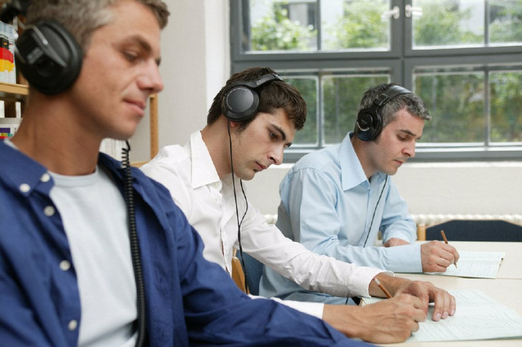 Study, men, headphones : Stock Photo