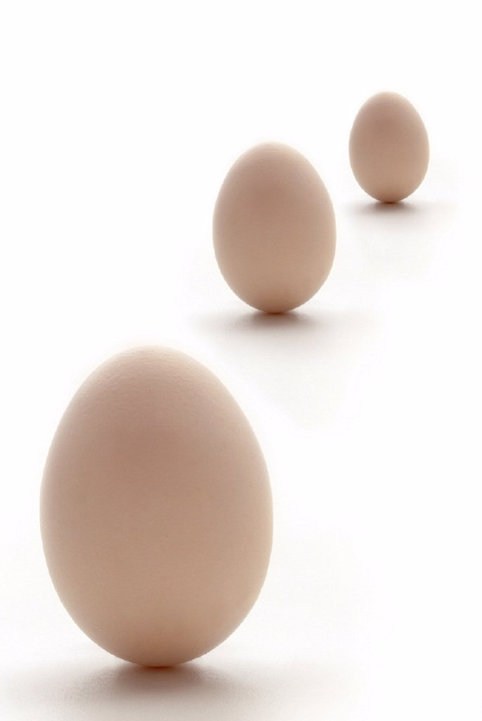 Stock Photo: 1558-58346 Eggs, three, still life