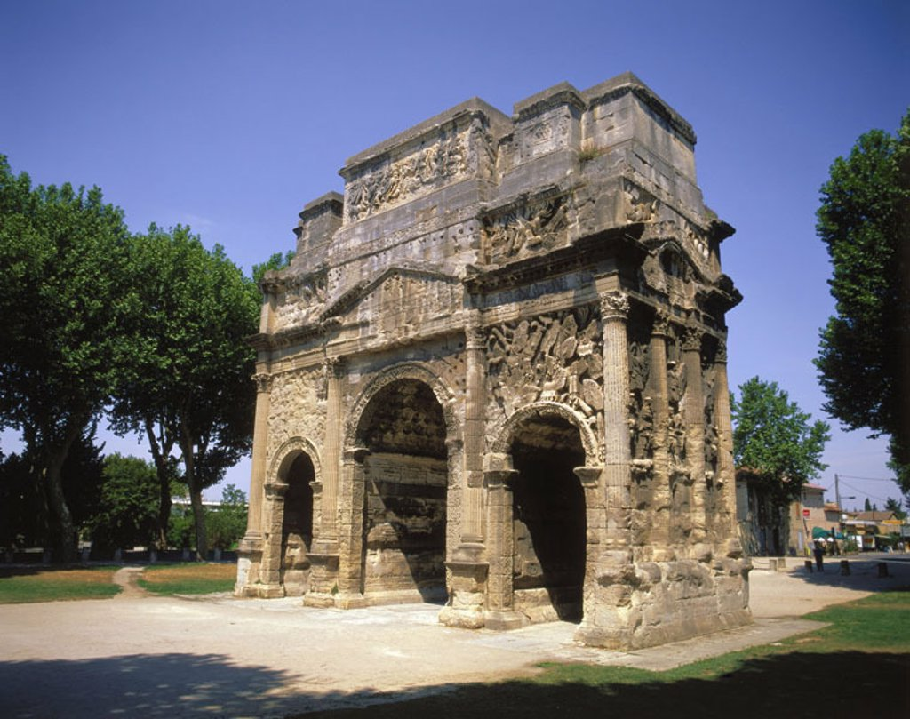 Stock Photo: 1558-59981 France, orange, triumphal arch   Europe, southeast France, Département Vaucluse, city, sight, landmarks, architecture, Roman, bow, archway construction, UNESCO-World Heritage Site
