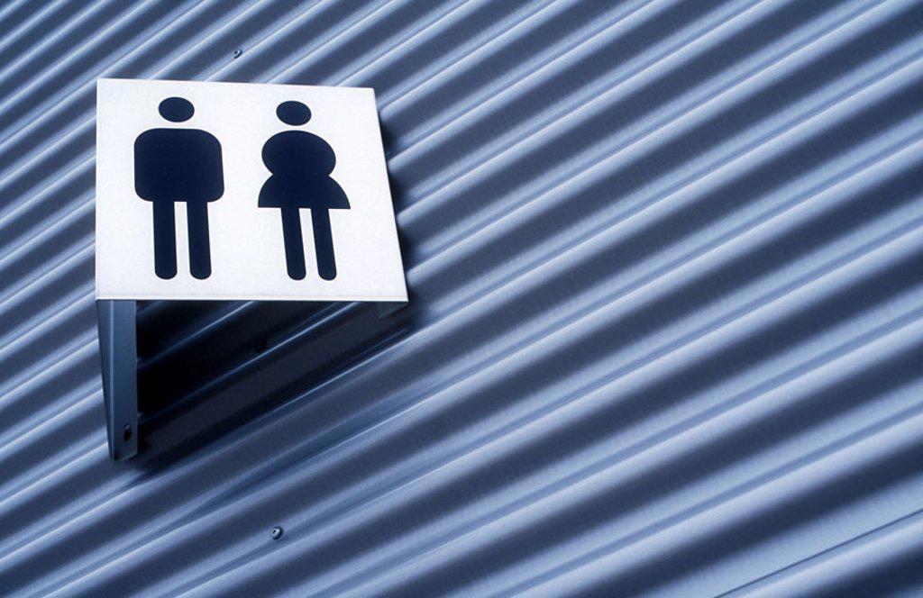 Buildings, hint, toilets, sign,  Pictograms  Sign, WC, sanitation facilities, Herrentoilette,  Lady toilet, little man, little woman, men, women, men, ladies, symbol, sex, objectivity, unisex, needs : Stock Photo