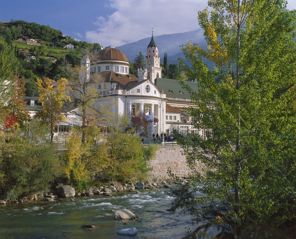 Italy, South Tyrol, Meran, new sanitarium,  Church, river passport,  Europe, Southern Europe, North Italy, Alto Adige, Merano, city, cure city, buildings, construction, architecture, sight, landmarks, dome, steeple, riversides : Stock Photo