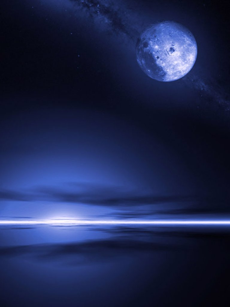 Firmaments, full moon, sea, horizon,  Light effect  Night, heaven, night heaven, stars, moon, heavenly bodies, full moon night, moonlight, Milky way, symbol, mood, mysteriously, mystically, silence, silence, loneliness, abandoned, darkness gloomily romant : Stock Photo