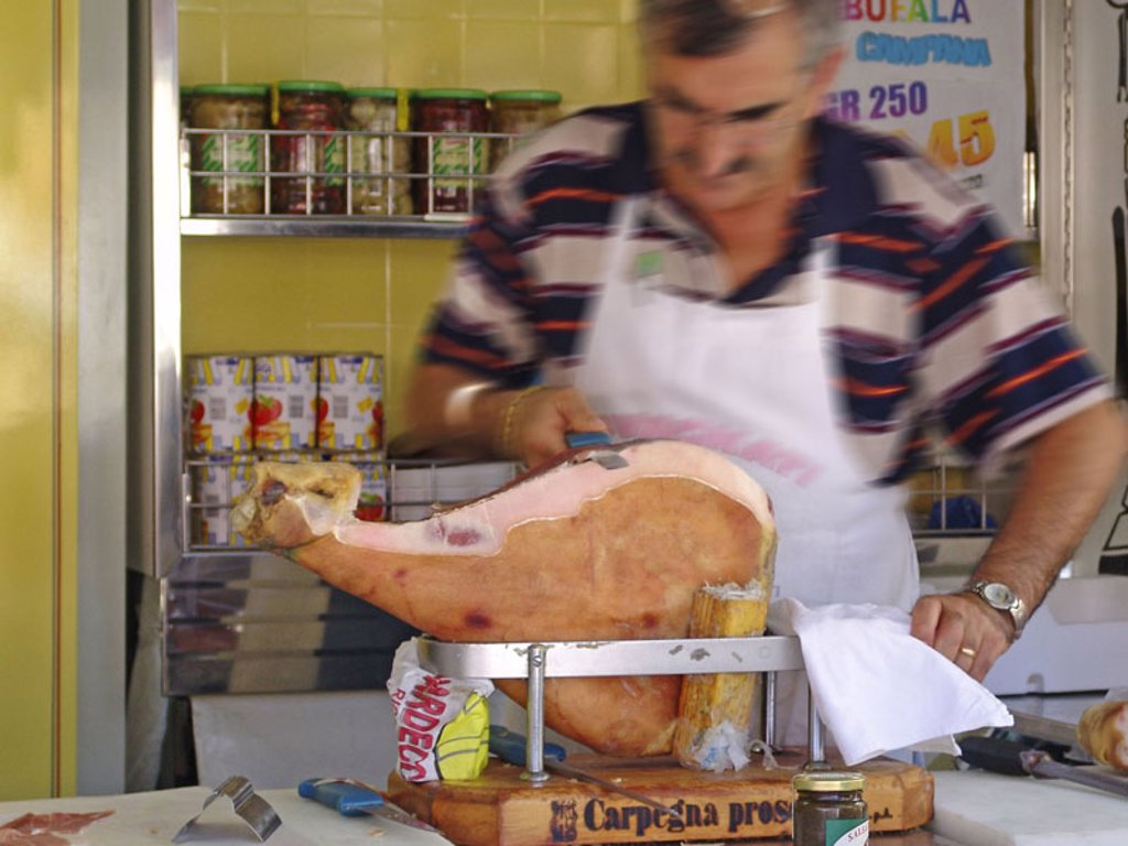 Stock Photo: 1558-61508 Italy, Abruzzen, butcher shop,   Butchers, hams, cut no models release Butcher shop, man, work, occupation, bacon, piece, broaches, brags, sausages, meat,  Sale, specialty, Italian, food, food, interior