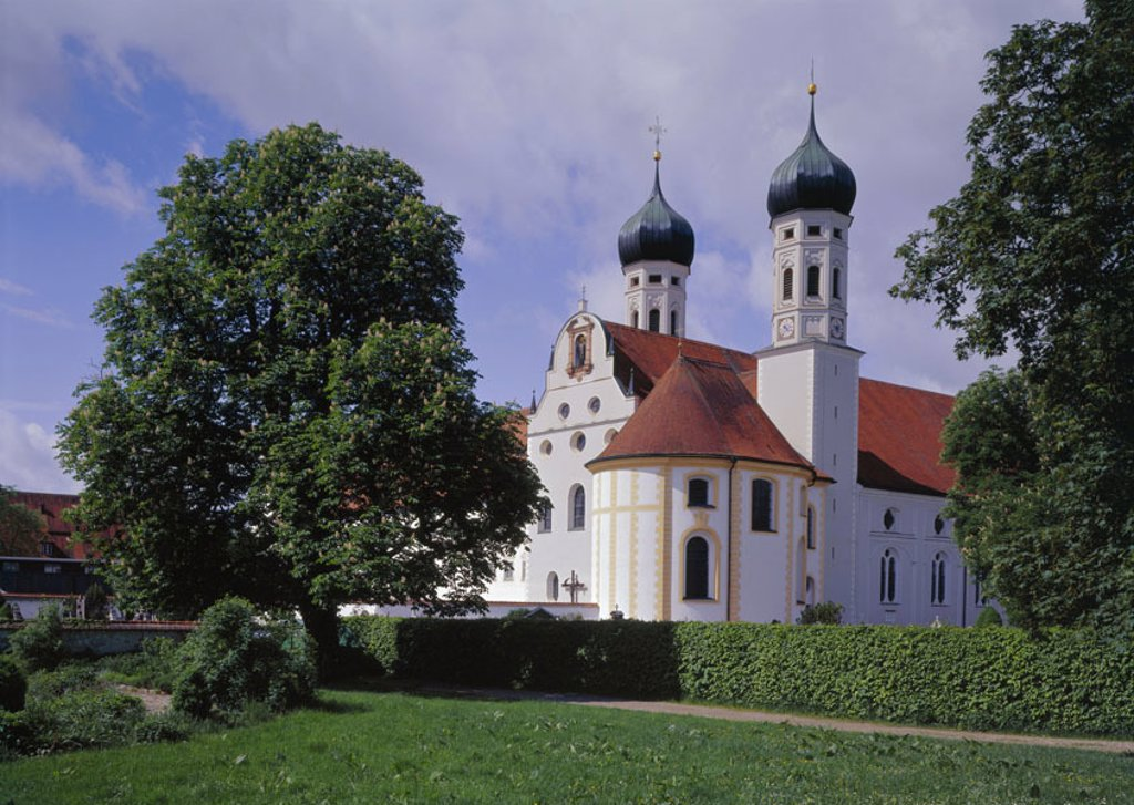 Germany, Bavaria, Benediktbeuern,  Cloister church  Europe, Central Europe, Southern Germany, Upper Bavaria, alpine foreland, sight, cloister, cloister buildings, church, chapel, sacral construction, style, baroque, baroque church, built 1681-1686 : Stock Photo