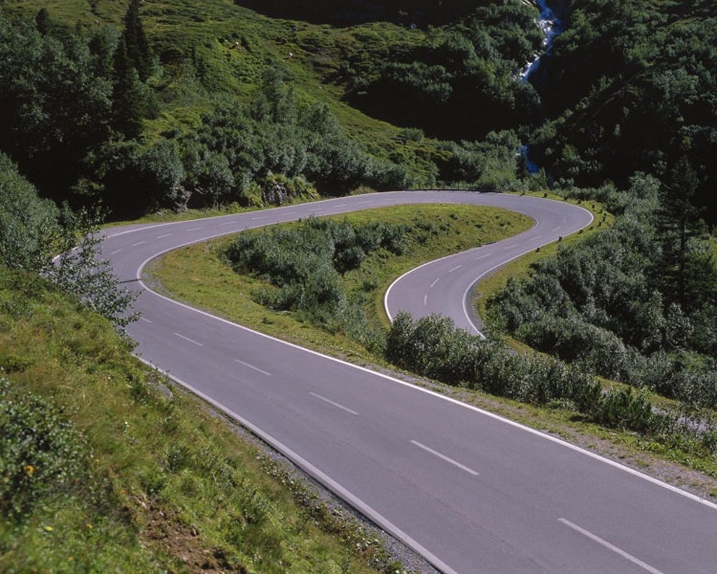 Stock Photo: 1558-61906 Mountain street, curved,   Street, country road, street course, curves, serpentine, bother, nobody, wound left, loneliness, highland, Austria, Vorarlberg, Montafon, Bielerhöhe,
