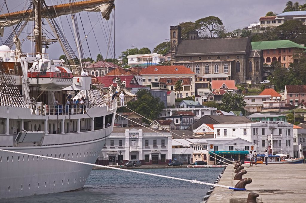 Grenada, St. George´s, harbor, Sail ship ´Sea Cloud 2´, detail, anchoring Caribbean, West Indian islands, little one Antilles, islands over the wind, island, inside harbor, Carenage, ship, four-masters, Viermastbark, liner, aims, sea journey, trip, vacati : Stock Photo